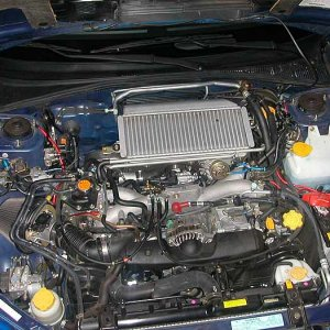 Engine bay, Blitz SUS intake on left